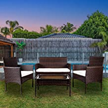 VEIKOU Rattan Garden Furniture Set Patio Conservatory Indoor Outdoor 4 Piece Set Table Chair Sofa with White Cushion (Brown)