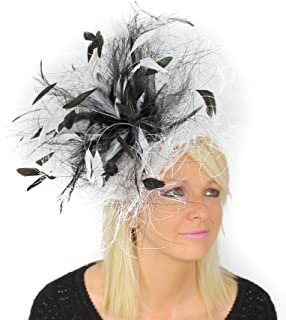 Vulture Sinamay & Feather Large Ascot Kentucky Derby Fascinator Hat with Headband