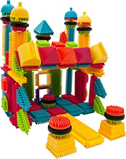 PicassoTiles PTB112 112pcs Bristle Shape Blocks Building Tiles Set Construction Learning Toy Stacking Educational Block, C...
