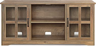 """BELLEZE Cori 52 Inch TV Stand Wood and Glass Console for TVs Up to 60"""", Rustic Oak"""
