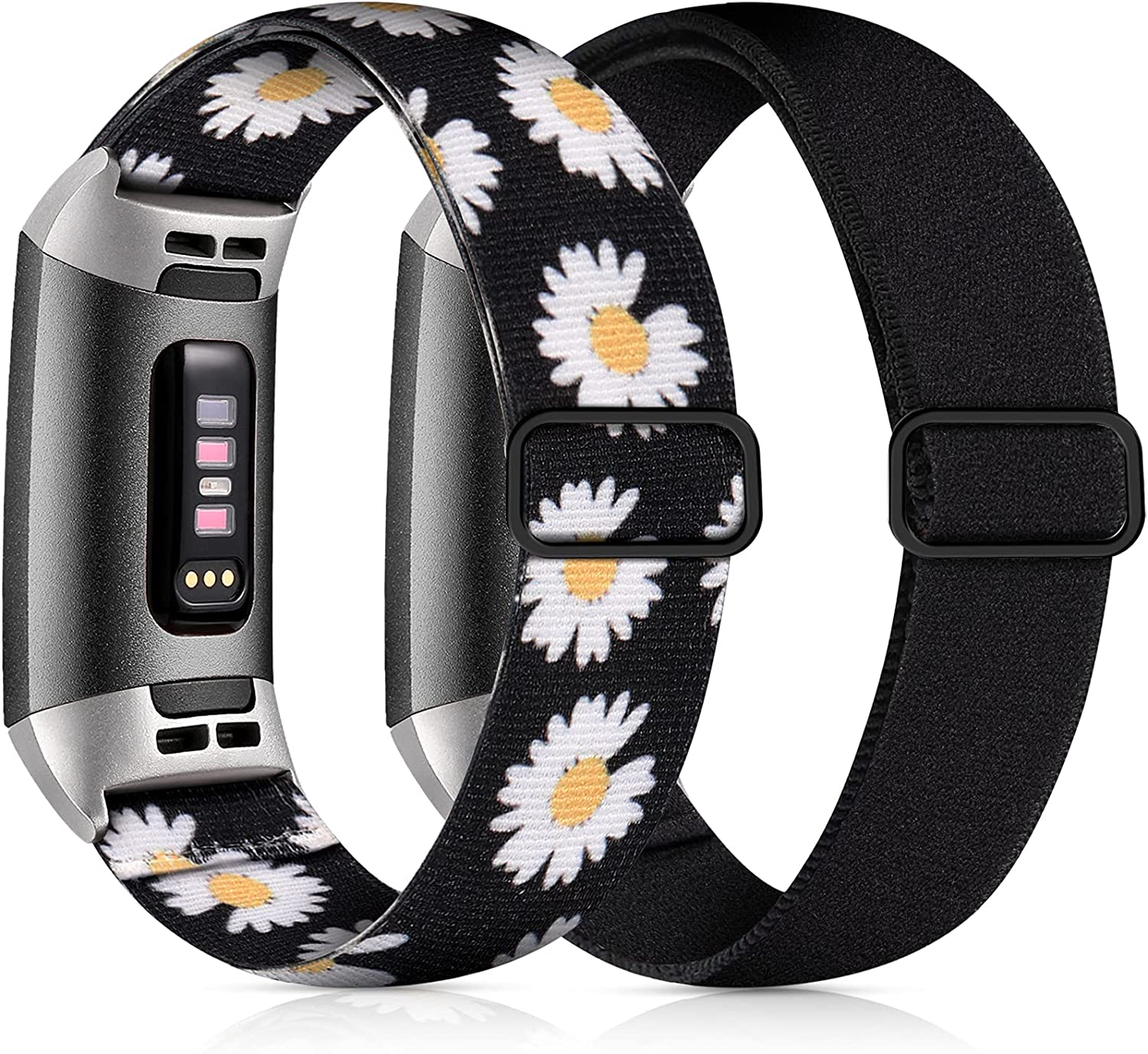 GEAK 2 Pack Compatible for Fitbit Charge 3 Bands/Fitbit Charge 4 Bands for Women, Adjustable Stretch Breathable Nylon Replacement Strap for Fitbit Charge 4/SE/Charge 3 Women Men Black/White Daisy