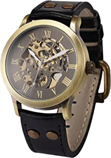 AMPM24 Men's Steampunk Bronze Skeleton Self-Winding Auto Mechanical Leather Wrist Wacth