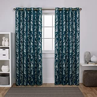 Exclusive Home Curtains EH8250-03 2-96G Watford Distressed Metallic Print Thermal Window Curtain Panel Pair with Grommet T...