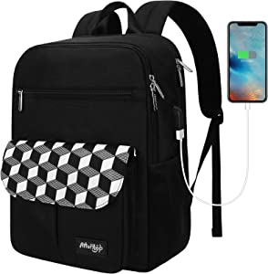 Arrontop Waterproof Backpack Travel College Bookbags Fits 15.6 inch Laptop & Tablet with USB Charging Port Computer Bag for Women and Men Black