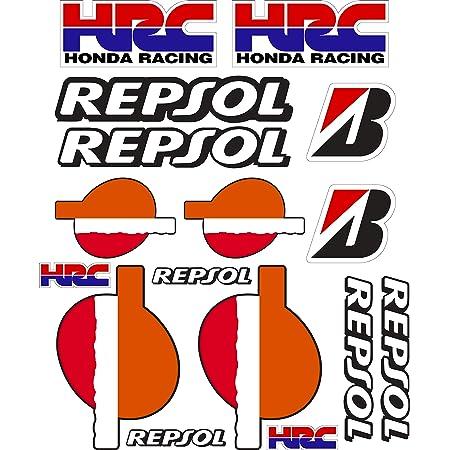 Vinyl Aufkleber Sponsor Kompatibel Mit Honda Hrc Showa Yoshimura Repsol Digitaldruck Laminiert Gegen Uv Strahlen Und Kratzer Blatt A 4 23 Stickers Auto