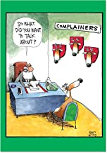 Complainer Reindeer - Deer Head Merry Christmas Card with Envelope (4.63 x 6.75 Inch) - Strict Santa Claus, Funny Season's Greetings Card - Festive Seasonal Holiday Stationery Notecard 1540