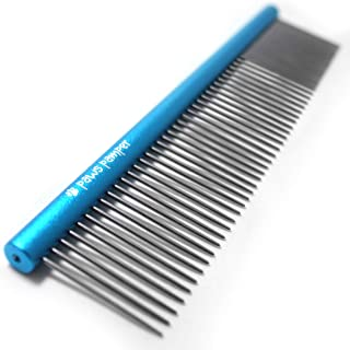 Paws Pamper Professional Anti-Corrosion Grooming Comb for Dogs & Cats,  Tapered Stainless Steel Pins