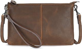 Befen Leder-Clutch, börse, kleine Crossbody-Tasche für Damen, (Crazy Horse Leder braun), Small
