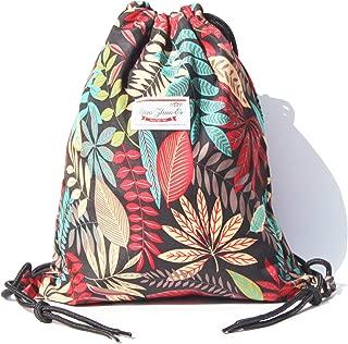 Alpaca Go Drawstring Bag Water Resistant Floral Leaf...