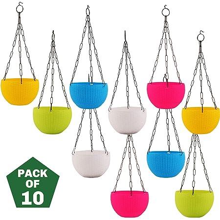 Leafy Tales Cane Basket, Plastic Hanging Pot, Multicolour, 17 x 12 x 32 cm, 10 Pieces