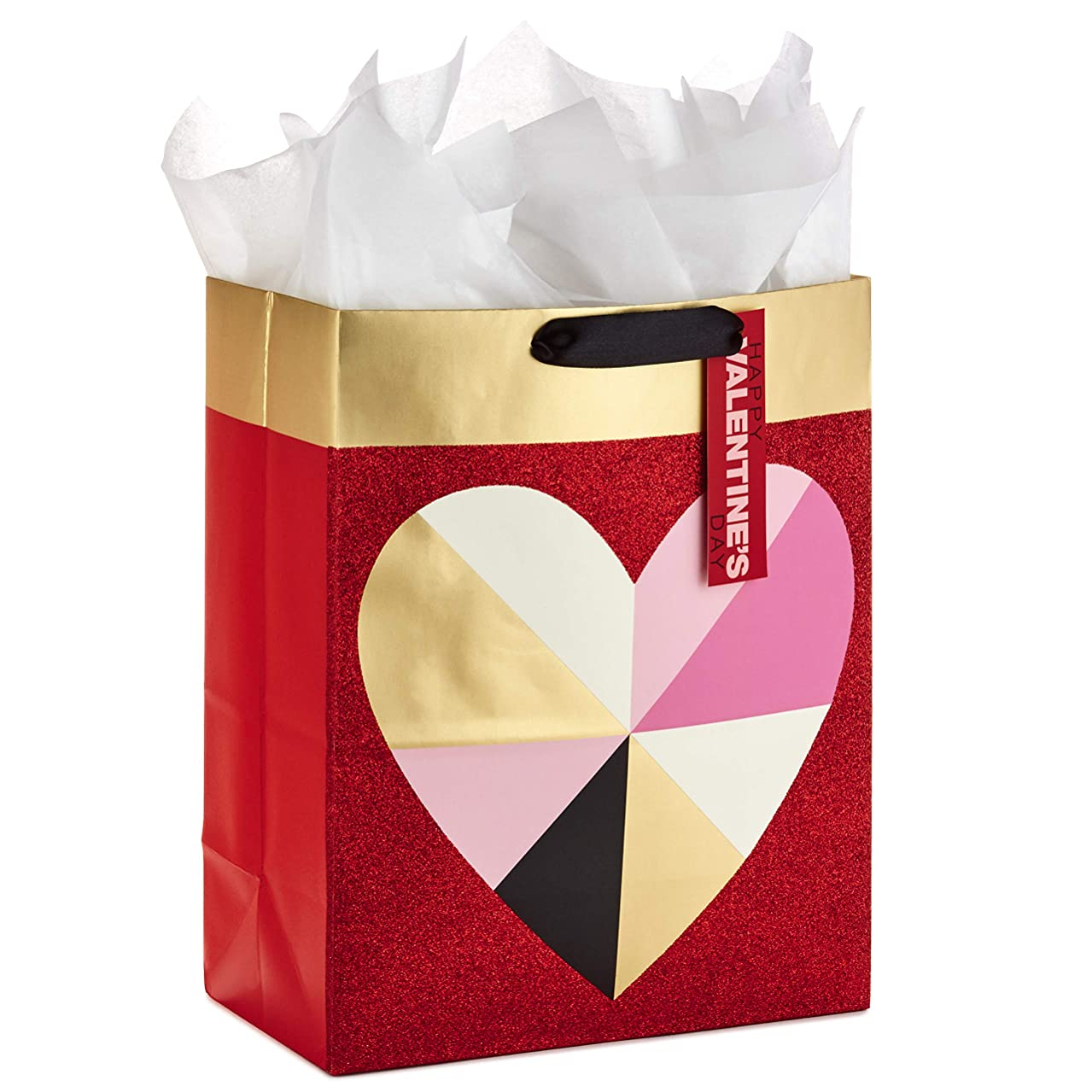 Hallmark Large Valentine's Day Gift Bag with Tissue Paper (Geometric Heart)