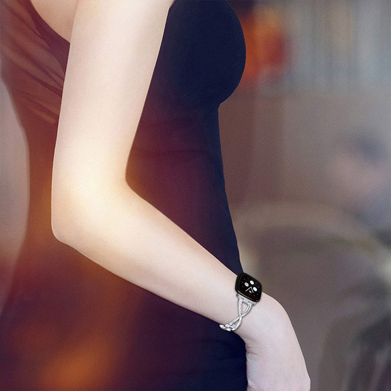 Sense A02 Bracelets de montre pour Fitbit Sense TechCode Bracelet en acier inoxydable avec strass Bracelet X-Type Link Bracelet en m/étal Bracelet de remplacement pour Fitbit Versa 3