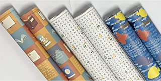 eVincE 3 assorted design Gift Wrapping paper bundle roll   Orange Book   White Word Search   Blue Fish Papers with fun fac...