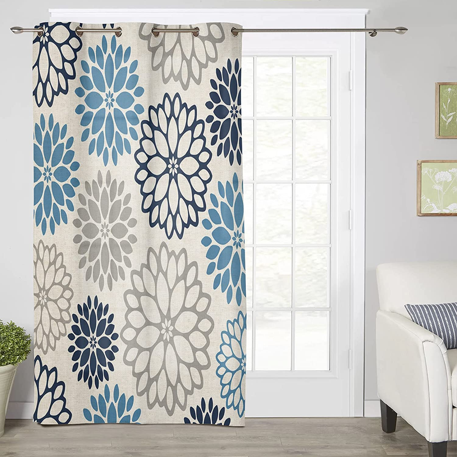 Max 53% OFF Thermal Insulated Window Curtain Blue and Opening large release sale Pat Grey Floral Dahlia