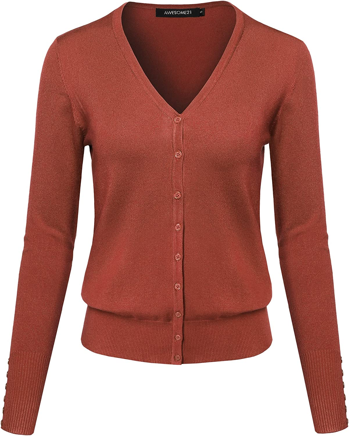 Women's Basic Solid V-Neck Button Closure Long Sleeves Sweater Cardigan
