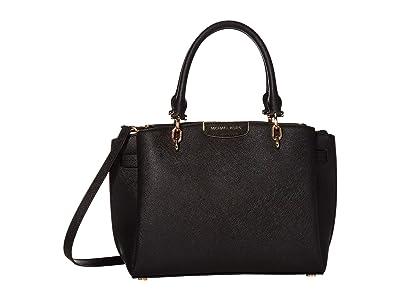 MICHAEL Michael Kors Rochelle Large Satchel (Black) Satchel Handbags