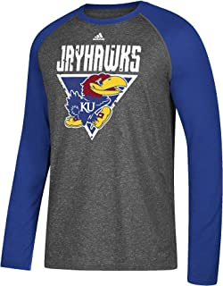 adidas NCAA Kansas Jayhawks Mens Color Splat Ultimate L/S Raglan Teecolor Splat Ultimate L/S Raglan Tee, Dark Gray Heather, Medium