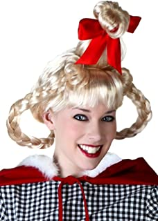Christmas Girl Wig with Red Satin Bow on Top