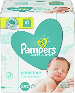 Baby Wipes, Pampers Sensitive Water Baby Diaper Wipes, Hypoallergenic and Unscented, 7X Pop-Top Packs, 392 Total Wipes
