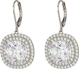 Nina - Haloed Square Cushion Cut Leverback Earrings