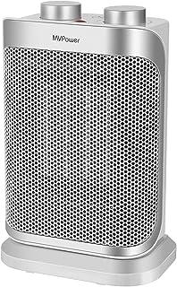 Calefactor de Ventilador de Cerámica MVPower 1500 W,70 °Oscilación Conmutable,3 Niveles de Potencia, Termostato,Control de Temperatura,Protección contra Vuelco y Sobrecalentamiento, Ahorro de Energía