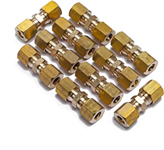 LTWFITTING 1/4-Inch OD Compression Union,Brass Compression Fitting(Pack of 10)