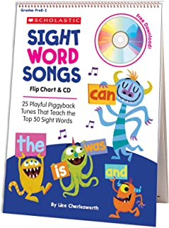 Sight Word Songs Flip Chart & CD: 25 Playful Piggyback Tunes That Teach the Top 50 Sight Words