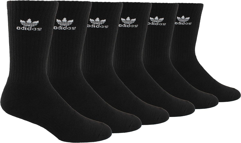 Adidas Men's Cushioned Athletic Crew Socks 6-Pack; Black/Grey (Shoe Size 6-12)