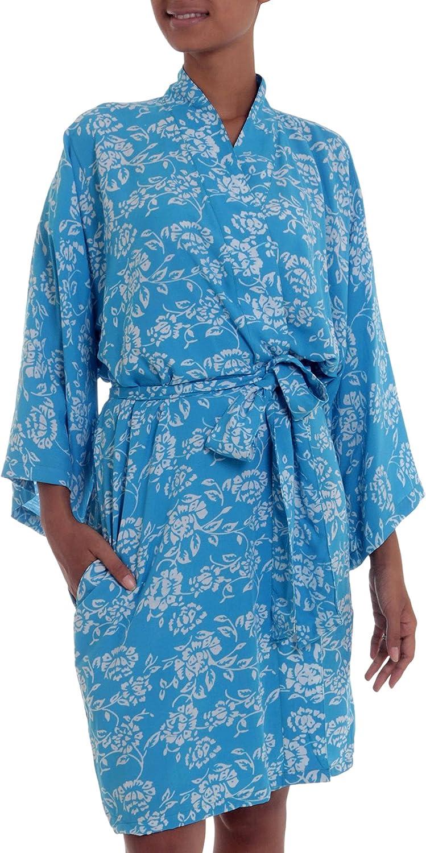NOVICA Blue 2021 Batik Rayon In 'Gorgeous Robe Mesa Mall Cerulean'