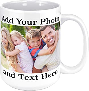 Custom Photo Coffee Mugs, 15 oz. Personalized Mugs w/Picture, Text, Name - Personalized Gifts for Grandpa, Grandma, Mother, Father, Parents, Office, Christmas Gifts, Birthday Gift, Taza Personalizada
