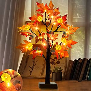 TURNMEON 24 Inch LED Maple Tree Fall Decor with Timer 24 Lights Battery Operated Tabletop Pumpkin Acorn Tree for Fall Thanksgiving Decorations Autumn Harvest Indoor Home Fireplace Decor(Warm White)