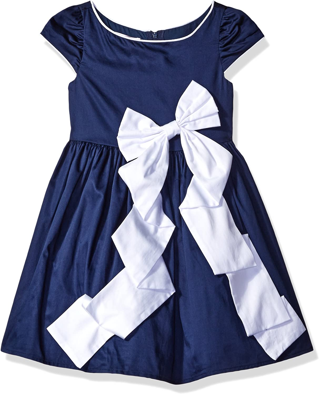 Biscotti Girls' Rose Reflection Navy Dress with White Bow
