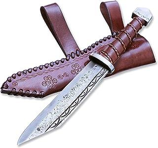 Madhammers Cuchillo de Hoja Fija de Sharp en Punta - Diseño Antiguo Elegante - Estuche de Cuero Genuino marrón Incluido - Regalo Original