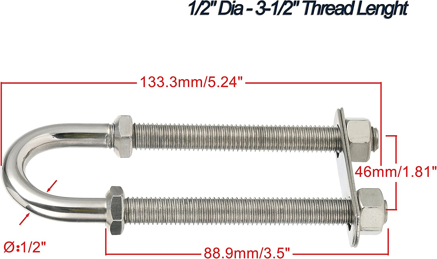 1//2-Inch and 3//8-Inch Optional Amarine Made Stainless Steel Marine Boat Stern Bow Eye Tie Down U Bolt