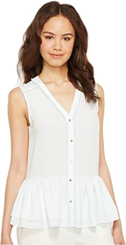 Woven Sleeveless Peplum Button Down Blouse