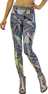 Revolver Fashion Women's Holographic Leggings: Iridescent Disco Leggings Many Colors! Fun Festival Outfit - Made in The USA