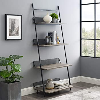 Walker Edison Modern Industrial Metal and Wood Ladder Bookcase Bookshelf Home Office Living Room Storage, 64 Inch, Grey Wash