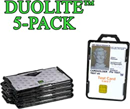 ID Stronghold - Pack of 5 - RFID Blocking Secure Badge Holder - Duolite 2 Card ID Holder - Poly Carbonate - Heavy Duty Plastic ID Badge Holder - Molded and Assembled in The USA - FIPS 201 Approved