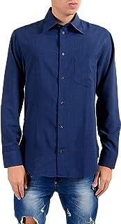 Blue Button Front Men's Casual Shirt