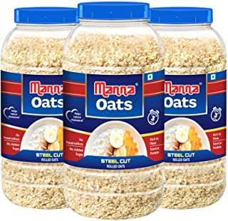 Manna Oats (1kg x 3 Jars) - Gluten Free Steel Cut Rolled Oats. High in Fibre & Protein. Helps Maintain Cholesterol. Good f...