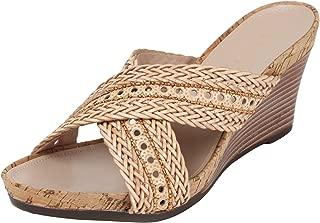 Catwalk Beige Leather Slip-on Wedges for Women's