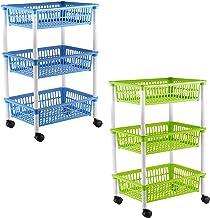 axentia Wózek kuchenny z 3 koszami, wózek na kółkach, w kolorze zielonym, niebieskim (posortowane kolory), plastik, 1 opak...