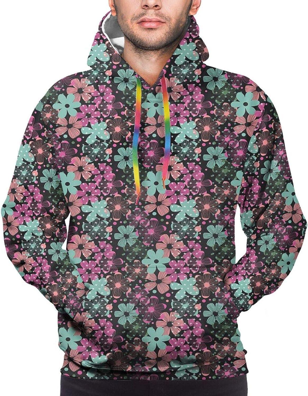 Men's Hoodies Sweatshirts,Romantic Bouquet of Hydrangeas and Asters On Water Background
