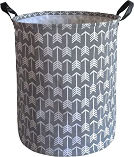 KUNRO Large Sized Storage Basket Waterproof Coating Organizer Bin Laundry Hamper for Nursery Clothes Toys (Gray Arrow)