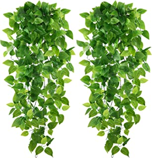 Teldrassil 2-Pack Artificial Hanging Plants Artificial Epipremnum Aureum Faux Ivy Leaves Fake Leaves Greeny for Wedding Indoor Outdoor Decoration