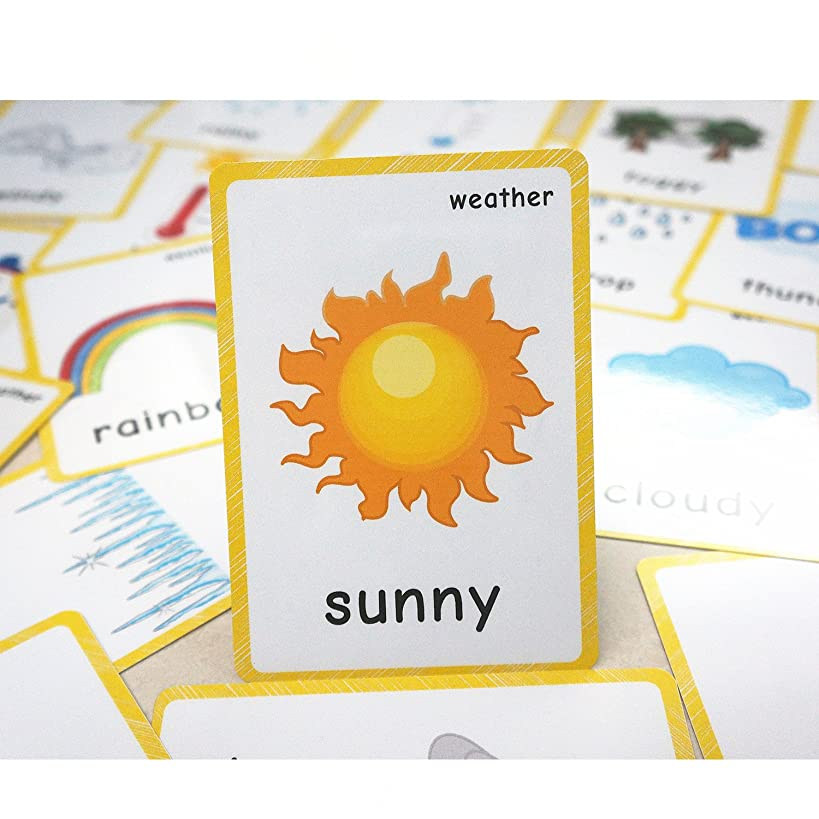 22 Weather Flash Cards(pre k flashcards) - Classroom Decorations and Early Learning Kindergarten Teacher Tools - Flash Cards Hole Punched - with 1 Ring -So You Can Sort and Organize The Cards Easily