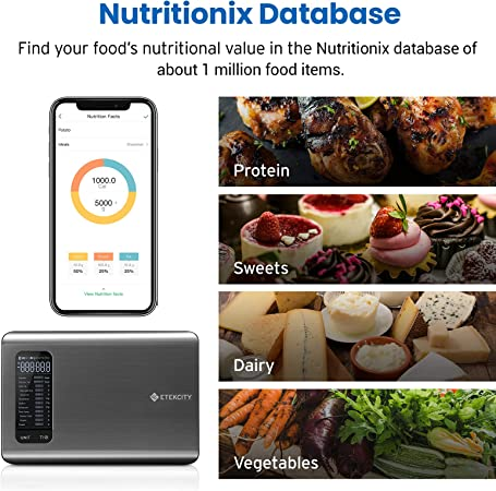 Etekcity Smart Food Nutrition Scale, Digital Grams and Ounces for Weight Loss, Baking, Cooking, Keto and Meal Prep, Large, Silver Stainless Steel