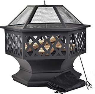 Merax Feuerstelle mit Grillrost, Feuerschale mit Funkenschutz Fire Pit für BBQ, Heizung, Garten Terrasse Metall Feuerkorb 3 in 1 Feuerstelle im Freien Hexagonal Feuerstelle