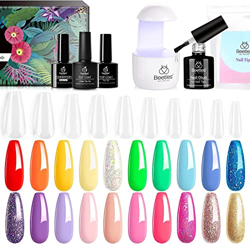 popular Beetles 20Pcs Gel Nail Polish new arrival with Nail Tips and Glue Gel UV LED outlet online sale Lamp Kit, Rainbow Gel Nail Polish Kit with Glossy & Matte Top Gel Base Coat outlet online sale