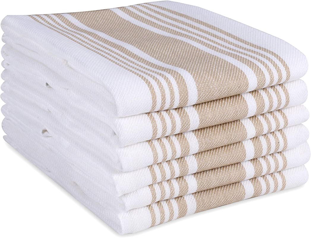 Cotton Clinic Farmhouse Stripe Kitchen Dish Towels Set Of 6 Extra Large 18x28 Dish Cloths Bar Towels Tea Towels And Cleaning Towels Kitchen Towels With Hanging Loop Beige